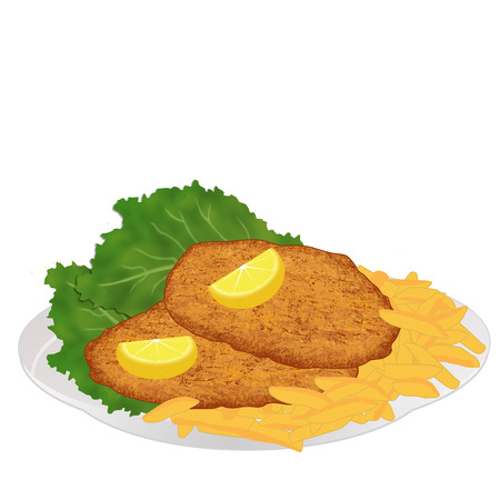 Schnitzel with frech fries, lettuce and lemon slices on white background, vector illustration