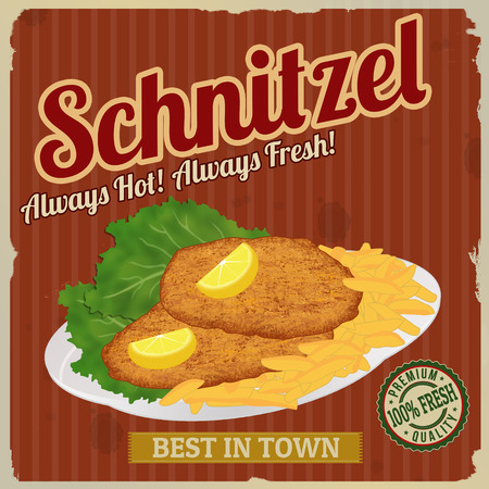 schnitzel: Schnitzel retro poster in vintage style with schnitzel with frech fries and lettuce, vector illustration