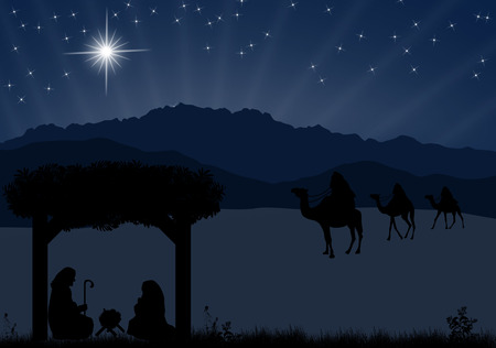 three wise men: Christmas nativity scene with baby Jesus in the manger, Mary and Joseph in silhouette, three wise men or kings and star of Bethlehem Illustration
