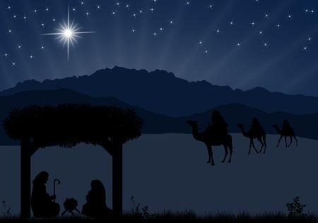 pesebre: Pesebre de Navidad con el niño Jesús en el pesebre, María y José en la silueta, tres hombres o reyes magos y la estrella de Belén