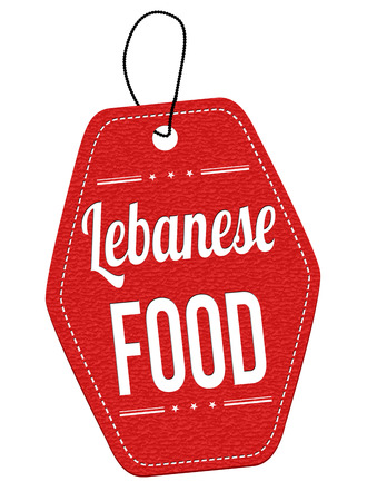 lebanese: Lebanese food red leather label or price tag on white background, vector illustration