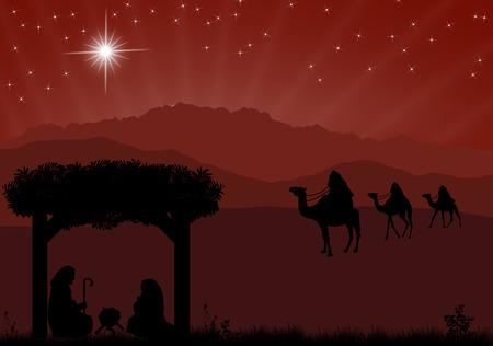three men: Christmas nativity scene with baby Jesus in the manger, Mary and Joseph in silhouette, three wise men or kings and star of Bethlehem Illustration