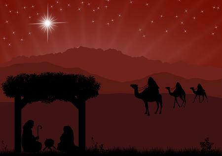 nascita di gesu: Natale, presepe con Ges� bambino nella mangiatoia, Maria e Giuseppe in silhouette, tre uomini o re saggi e stella di Betlemme