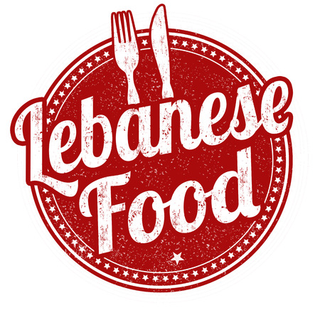 middle eastern food: Lebanese food grunge rubber stamp on white background, vector illustration Illustration