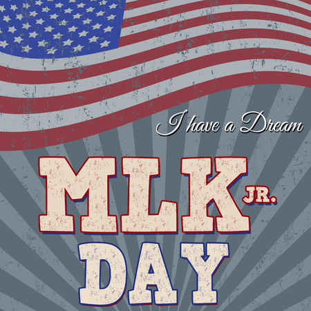 Martin Luther King Day typographic grunge background design, vector illustration. Day of Service.