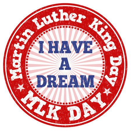 jr: Martin Luther King Day grunge rubber stamp on white, vector illustration