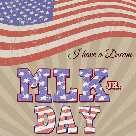national hero: Martin Luther King Day typographic grunge background design, vector illustration. Day of Service.