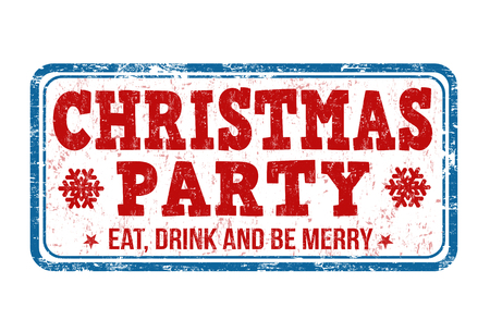 stag party: Christmas party grunge rubber stamp on white background Illustration