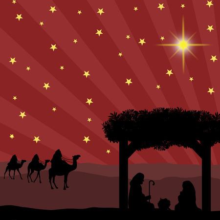 飼い葉桶のイエス ・ キリストの赤ちゃんと一緒にクリスマスのキリスト降誕のシーン  イラスト・ベクター素材