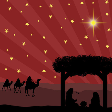 star of bethlehem: Christmas nativity scene with baby Jesus in the manger