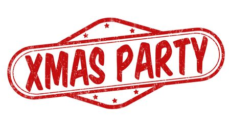 white party: Xmas party grunge rubber stamp on white background Illustration