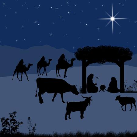 pesebre: Pesebre de Navidad con el ni�o Jes�s en el pesebre con Mar�a y Jos� y siluetas de animales Vectores