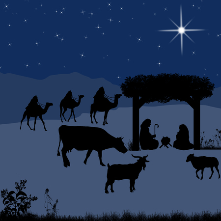 Christmas nativity scene with baby Jesus in the manger with Mary and Joseph and silhouettes of animals
