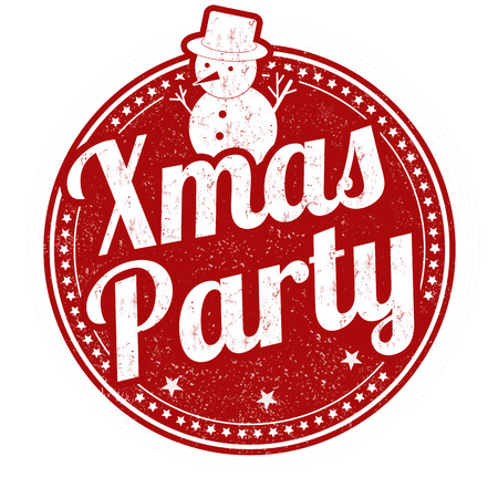 stag party: Xmas party grunge rubber stamp on white background Illustration