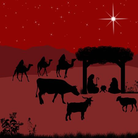 christ is born: Christmas nativity scene with baby Jesus in the manger with Mary and Joseph and silhouettes of animals
