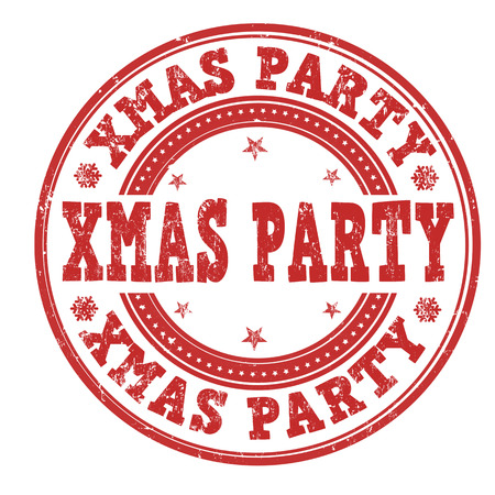 stag party: Xmas party grunge rubber stamp on white background, vector illustration