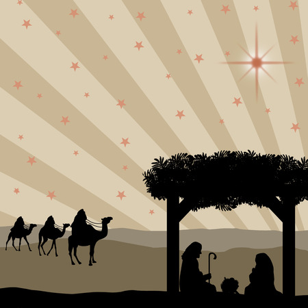 christ the king: Christmas nativity scene with baby Jesus in the manger, Mary and Joseph in silhouette, three wise men or kings and star of Bethlehem Illustration