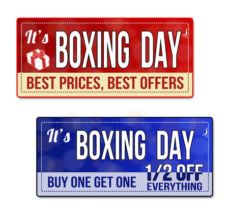 boxing day special: Boxing day coupon, voucher, tag. Red and blue template with frame, dotted line (dash line), vector illustration