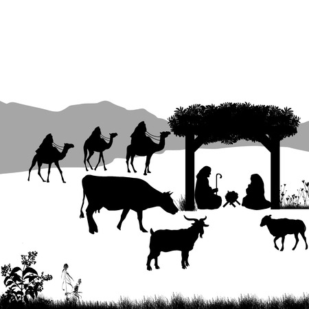nativity background: Christmas nativity scene with baby Jesus in the manger with Mary and Joseph and silhouettes of animals