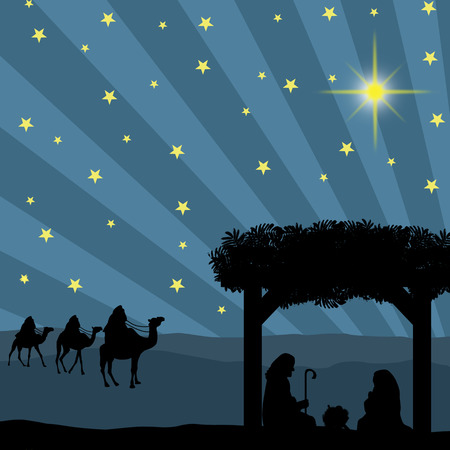 birth: Christmas nativity scene with baby Jesus in the manger, Mary and Joseph in silhouette, three wise men or kings and star of Bethlehem Illustration