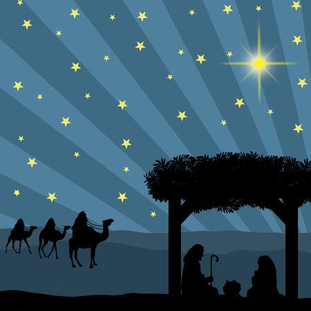 reyes magos: Pesebre de Navidad con el niño Jesús en el pesebre, María y José en la silueta, tres hombres o reyes magos y la estrella de Belén
