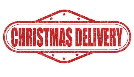 promising: Christmas delivery grunge rubber stamp on white background, vector illustration Illustration