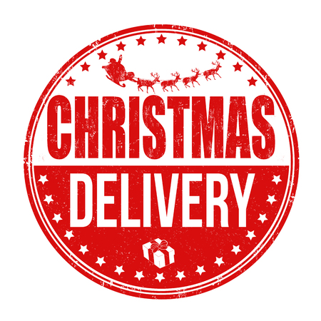 Christmas delivery grunge rubber stamp on white background, vector illustration 일러스트