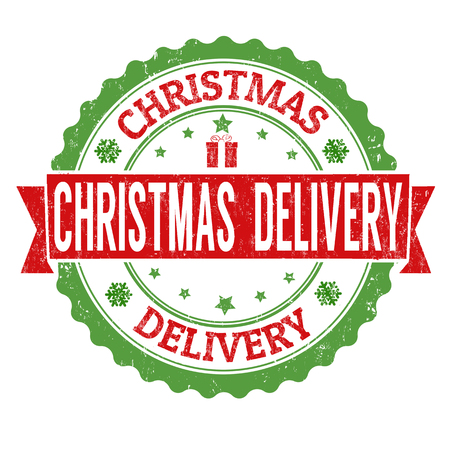 christmas mail: Christmas delivery grunge rubber stamp on white background, vector illustration Illustration