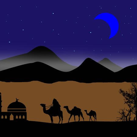 bedouin: Abstract background with bedouin riding camel during the blue night Stock Photo