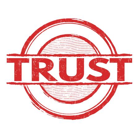 honestidad: grunge sello de goma confianza en el fondo blanco, ilustración vectorial Vectores