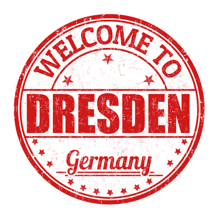 germany: Welcome to Dresden grunge rubber stamp on white background, vector illustration