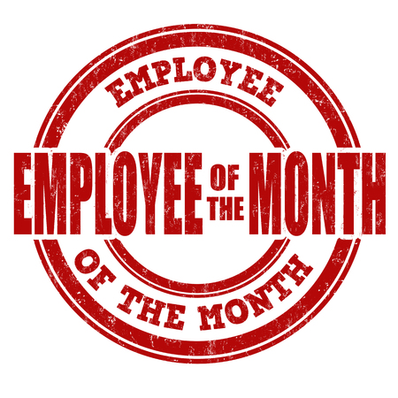month: Employee of the month grunge rubber stamp on white, vector illustration