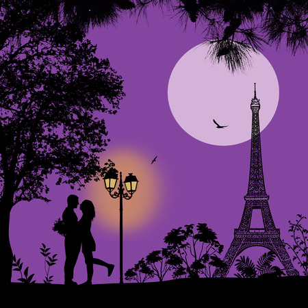 towers: Lovers in Paris on lila night background. Romantic scene, vector illustration