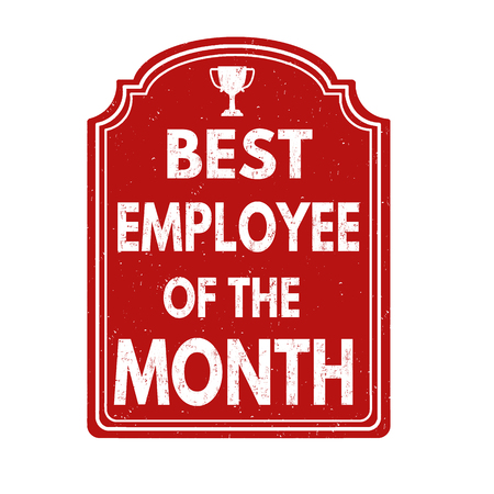 best: Best employee of the month grunge rubber stamp on white, vector illustration Illustration