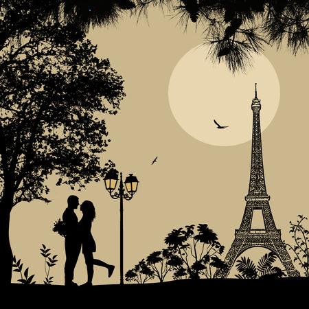 siluetas de enamorados: Los amantes de París en la noche hermosa en el fondo estilo retro. Escena romántica, ilustración vectorial Vectores