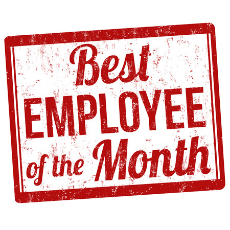 best employee: Best employee of the month grunge rubber stamp on white, vector illustration Illustration