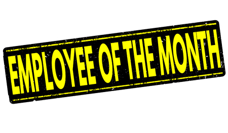 months: Employee of the month grunge rubber stamp on white, vector illustration