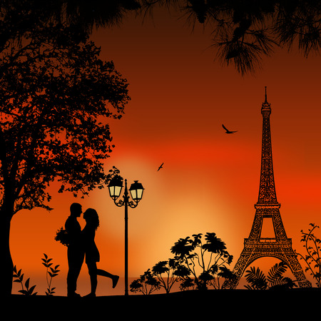 dating: Lovers in Paris on beautiful sunset background. Romantic scene, vector illustration