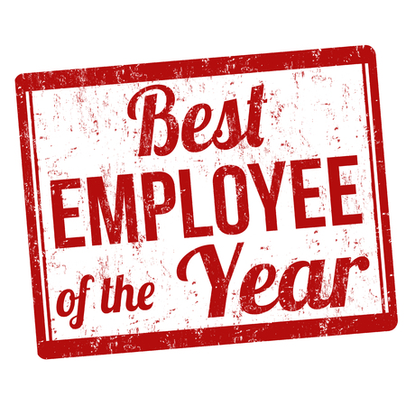best employee: Best employee of the year grunge rubber stamp on white, vector illustration