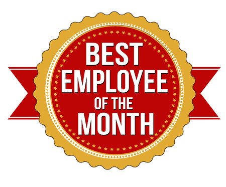 month: Employee of the month label or stamp on white background, vector illustration