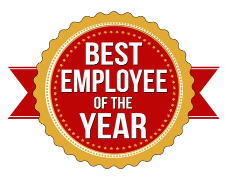 empleados trabajando: Empleado de la etiqueta año o sello en el fondo blanco, ilustración vectorial