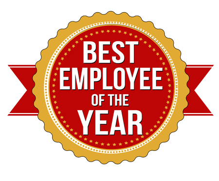 Employee of the year label or stamp on white background, vector illustration Stock Illustratie