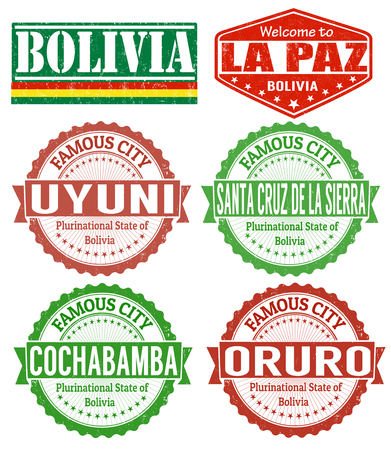 cochabamba: Set of grunge rubber stamps with names of Bolivia cities, vector illustration Illustration