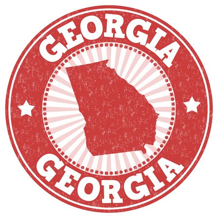 usa stamp: Grunge rubber stamp with the name and map of Georgia, vector illustration