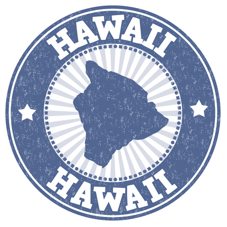 imprinted: Grunge rubber stamp with the name and map of Hawaii, vector illustration