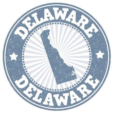 imprinted: Grunge rubber stamp with the name and map of Delaware, vector illustration