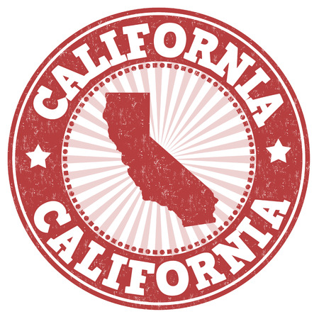 Grunge rubber stamp with the name and map of California, vector illustration
