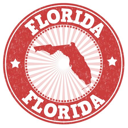 identifier: Grunge rubber stamp with the name and map of Florida, vector illustration