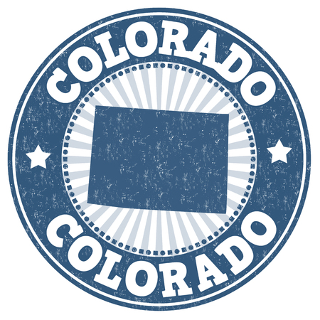 grunge rubber stamp: Grunge rubber stamp with the name and map of Colorado, vector illustration Illustration