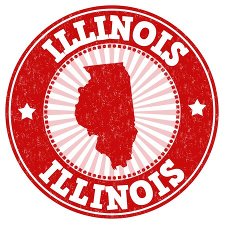 grunge rubber stamp: Grunge rubber stamp with the name and map of Illinois, vector illustration Illustration